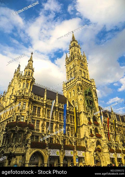 Munchen, Bavaria, Germany. The tower of the Neues Rathaus (New City Hall) in Marienplatz