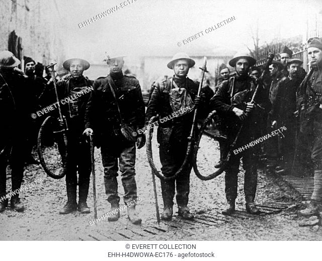 World War I, American soldiers with captured German flame-throwers, 1918