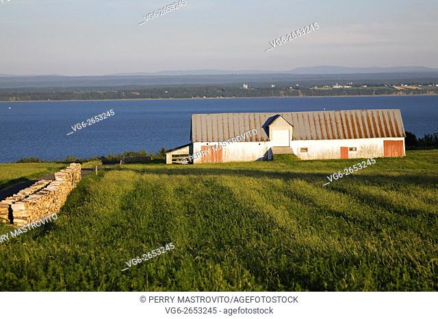 Woodpile in a agricultural field with an old barn and the Saint-Lawrence river in the background in summer, Saint-Jean, Ile d'Orleans, Quebec, Canada