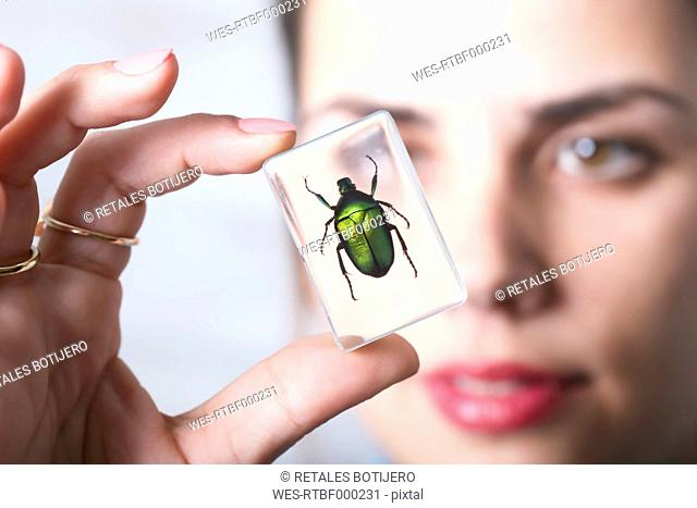 Woman holding preparation of green rose chafer beetle in acrylic