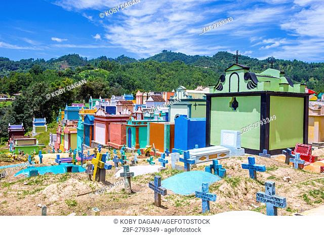 Colorful Cemetery in Chichicastenango Guatemala. in Guatemala family members paint the tombstone as a way of honoring the dead
