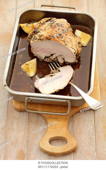 Roast veal with lemon