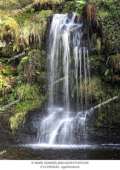 Lumb Hole Waterfall on Crimsworth Dean Beck near Pecket Well Hebden Bridge West Yorkshire England