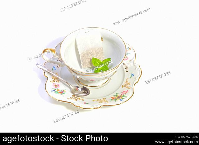 Delicate porcelain cup of tea for a refreshing high tea