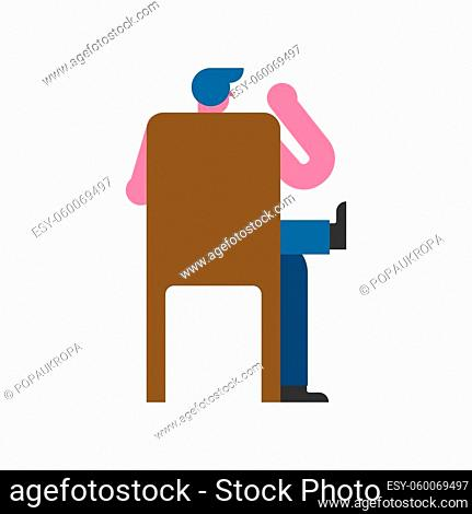 Man sitting on chair back isolated. Vector illustration