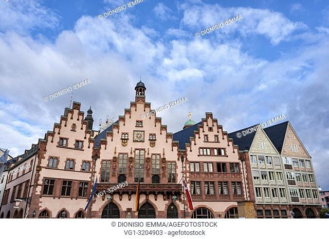 Frankfurt am Main, Hessen, Germany, Europe, Römerberg (Römer), Rathaus (town hall) The Römer complex, the city hall of the German metropolis