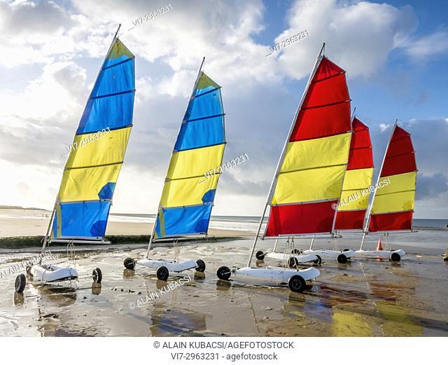 Sand yacht, Juno Beach, Courseulles-sur-Mer, Calvados, France