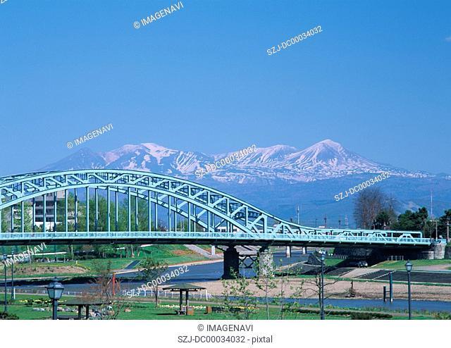 Asahibashi Bridge and Mount Daisetsu