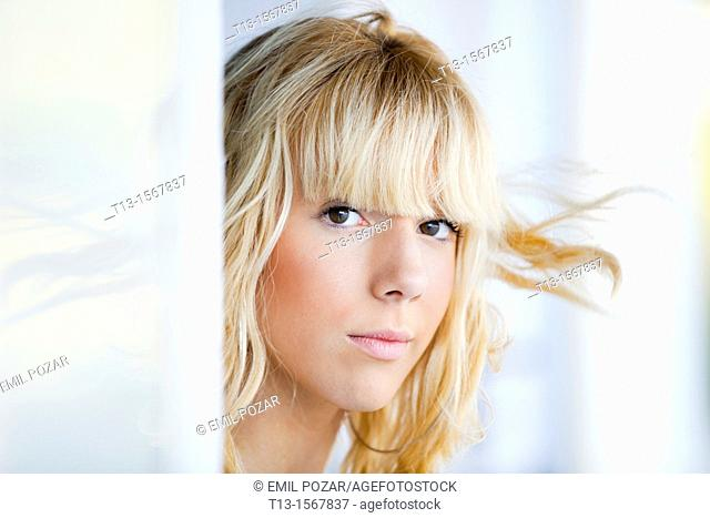 Blonde teen girl portrait