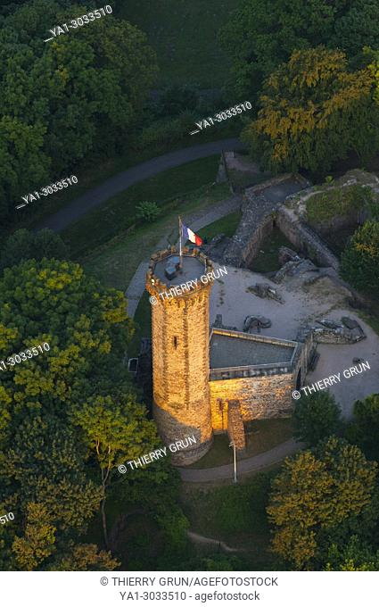 France, Moselle (57), Forbach town, Schlossberg castle (aerial view)