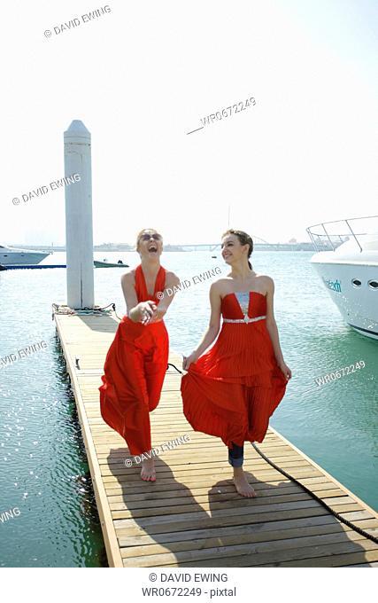 women on landing bridge