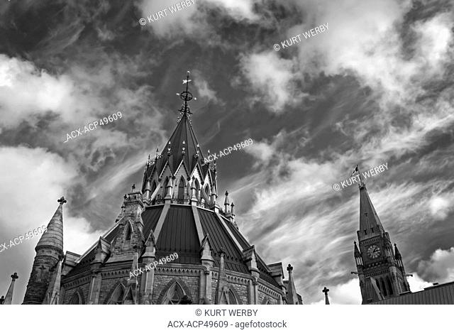 The roof of the Library of Parlaiment and the Peace Tower in the distance at the House of Parlaiment in Ottawa, Ontario, Canada