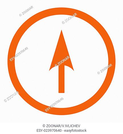 Arrow Axis Y flat orange color rounded raster icon