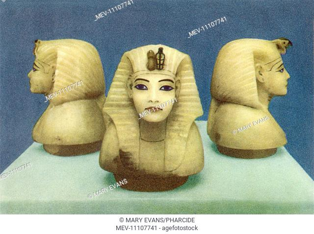 Three Alabaster heads portraying Tutankhamun (reigned 1332–1323 BC) from his tomb, as discovered by Howard Carter among others in 1922 in the Valley of Kings