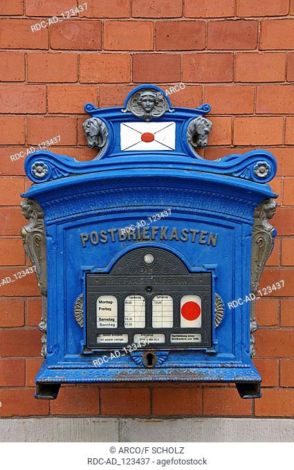 Replica of mailbox from 1896 post building Celle Lower Saxony Germany