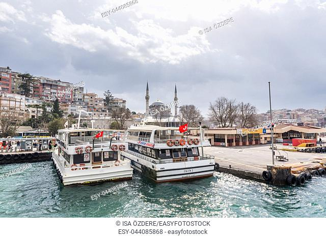 Pier of Uskudar locates at Asian side of Bosphorus in Istanbul, Turkey. 03 January 2018