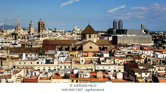 Spain, Catalonia, Catalunya, Barcelona, Raval, Design Hotel Barcelo Raval, Panoramic View from Roof Top of Barcelo Raval Hotel