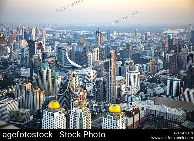 Thailand, Bangkok City, Down town Bangkok panorama