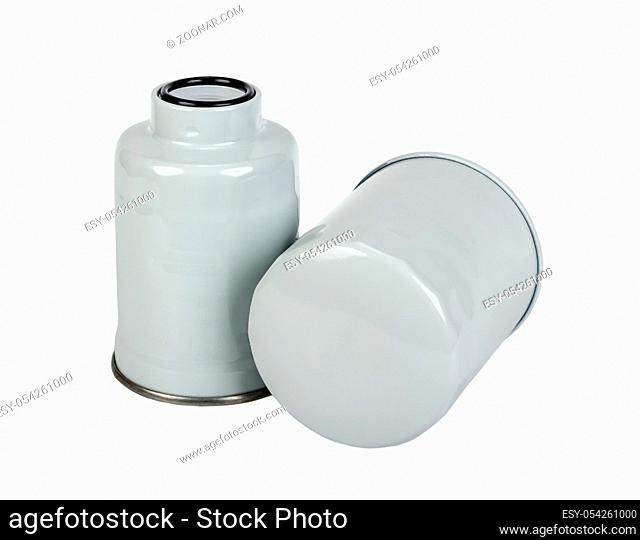 Oil and fuel car filter isolated on white background