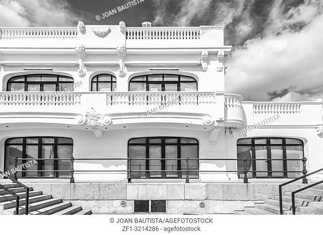 Old building Royal Club Regatta in port,black and white,Cartagena,Spain