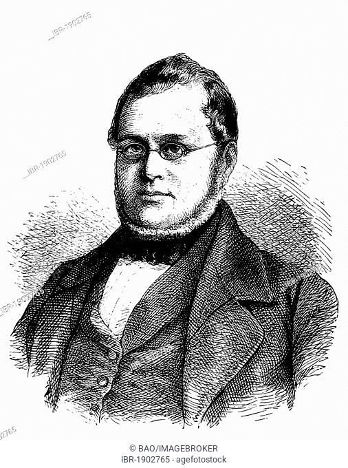 Camillo Benso di Cavour, 1810 - 1861, first Prime Minister of the new Kingdom of Italy, historical woodcut, circa 1880