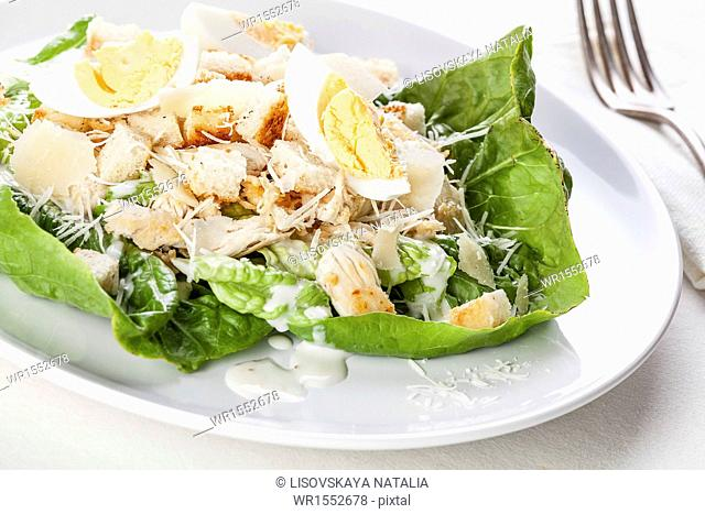Caesar salad with eggs and chicken breast