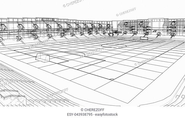 Soccer Stadium or Football Arena Concept. Vector rendering of 3d. Wire-frame style. The layers of visible and invisible lines are separated