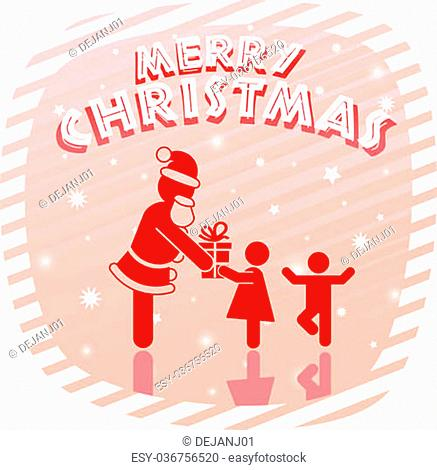 Children silhouettes with merry christmas message Stock Photos and ...
