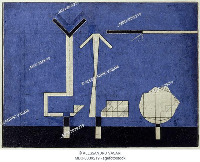 Memories after Death (Memorie d'oltretomba), by Osvaldo Licini, 1938, 20th Century, tempera on canvas, 35,5 x 47,5 cm