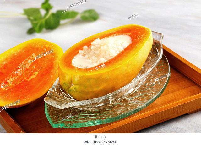 papaya hasma in almond milk