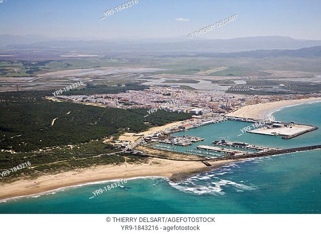 Barbate de Franco Cádiz, Spain Aerial view  The city and its little harbour  The river mouth throw browny water into the sea