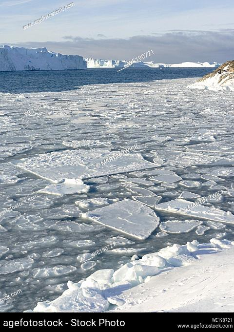 Winter at the Ilulissat Icefjord, located in the Disko Bay in West Greenland, the Icefjord is part of the UNESCO world heritage