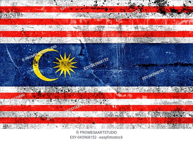 Flag of Kuala Lumpur, painted on dirty wall. Vintage and old look
