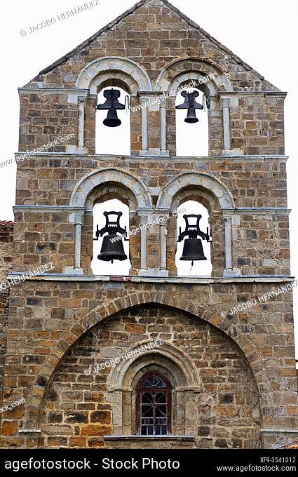 Steeple of the romanesque collegiate church of San Salvador. San Salvador de Cantamuda. Palencia province. Castilla y León. Spain