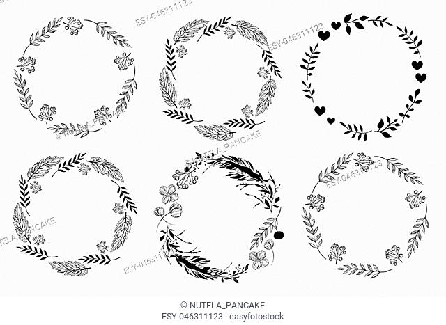 Set of monochrome circle frames. Doodle leaf, flowers and berry wreaths. Ready templates for design, postcards, printing