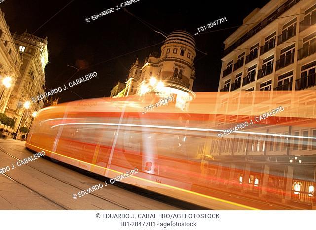 moving tram trail. Seville