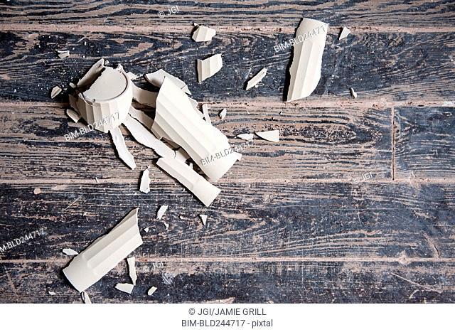 Broken shards of cup on wooden floor