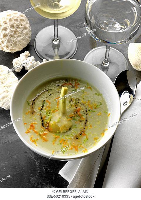 Three vanilla cream of artichoke soup
