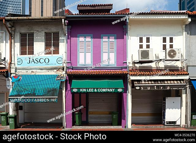 Singapore, Republic of Singapore, Asia - Apart from a few exceptions the vast majority of retailers that are housed in traditional shophouses