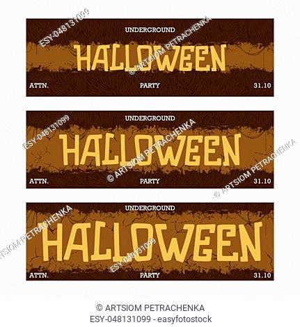 Halloween Underground night party. Creative thematic horizontal banner. Horror style template. Three different sizes. Vector illustration