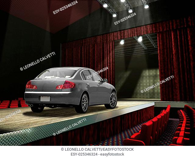 Sedan car on a fashion runway, in the spotlght. No people on the seats around