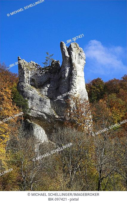 Castle ruin Neugutenstein, rural district Sigmaringen, Baden-Wuerttemberg, Germany