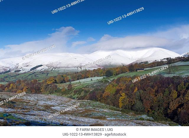 Eastern Howgill Fells near Sedbergh covered in early winter snow