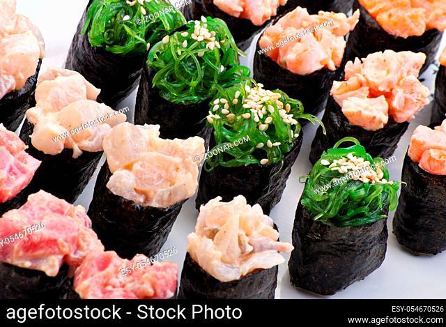 Traditional Japanese food Sushi. Closeup japanese sushi on a white plate. Sushi set
