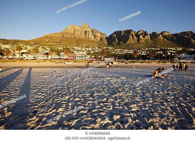 Camps Bay Beach with Table Mountain and Twelve Apostles, Cape Town, South Africa