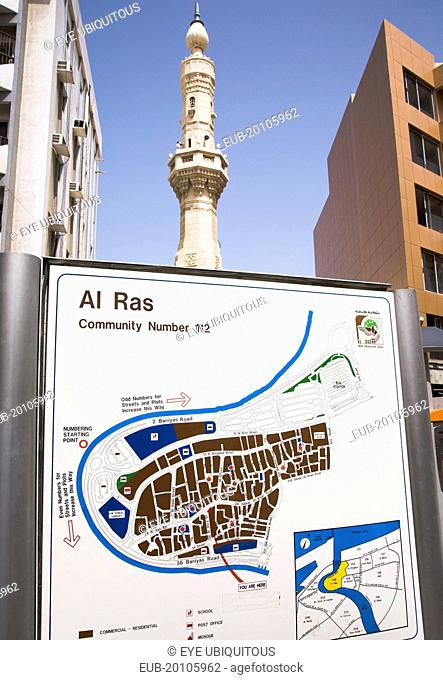 District map of Al Ras area of Deira with minaret of mosque behind
