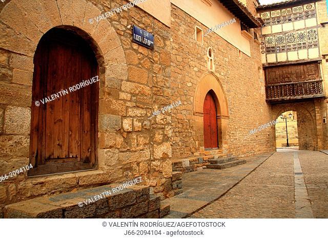 Mirambell street with portal Nuns the bottom. Teruel