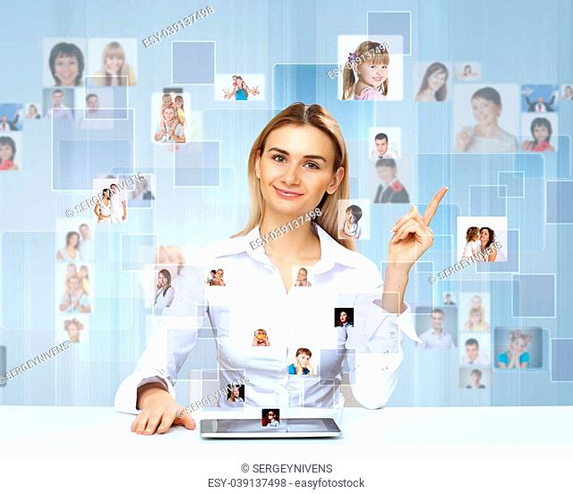 Businesswoman making presentation against social network bacjkground