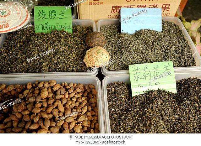 chinese herbs ,tea and spices for sale by weight, Yaowarat Road , chinatown, bangkok, Thailand