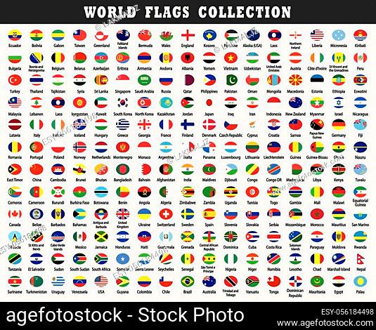 Rounded world flags Collection. circular design. Rounded world flags Collection drawing by illustration. Set of world flags